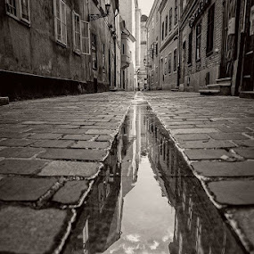 Gray Sunday by Laci Erdős - Black & White Buildings & Architecture ( reflection, street, stone )