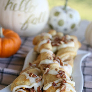 Pumpkin Pecan Twists with Cream Cheese Frosting.
