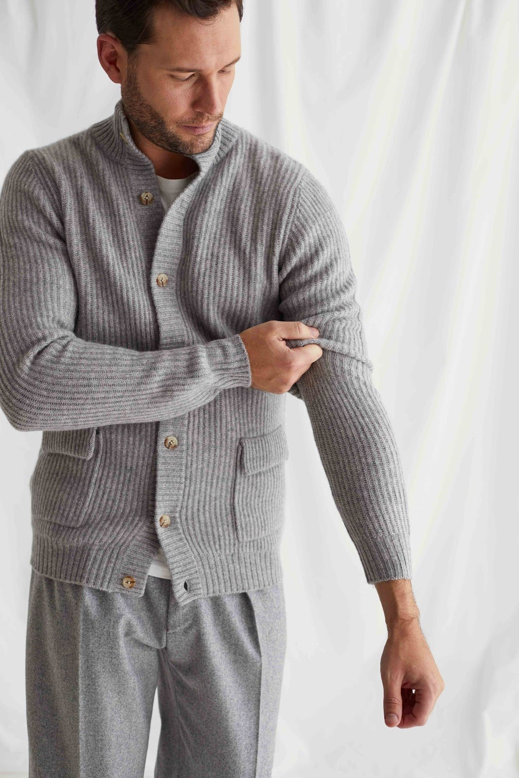 Man Buttoned Rib Cardigan