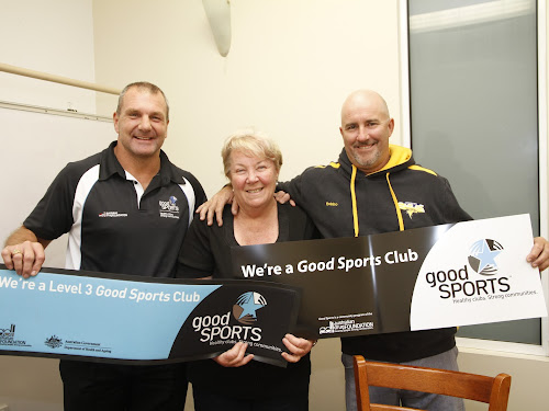 Good Sports northern NSW regional manager Marc Glanville, Narrabri Eagles secretary Robyn Faber, and vice-president Dean Robinson.