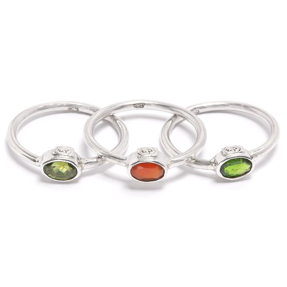 Grön turmalin, karneol och kromdiopsid - silverringar med fasettslipade stenar