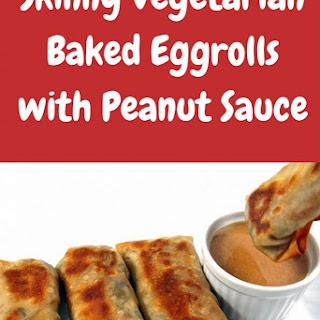Skinny Vegetarian Baked Eggrolls with Peanut Sauce