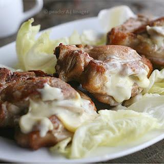 Pork Chops stuffed with Olives, Mushroom, Garlic & Cheese