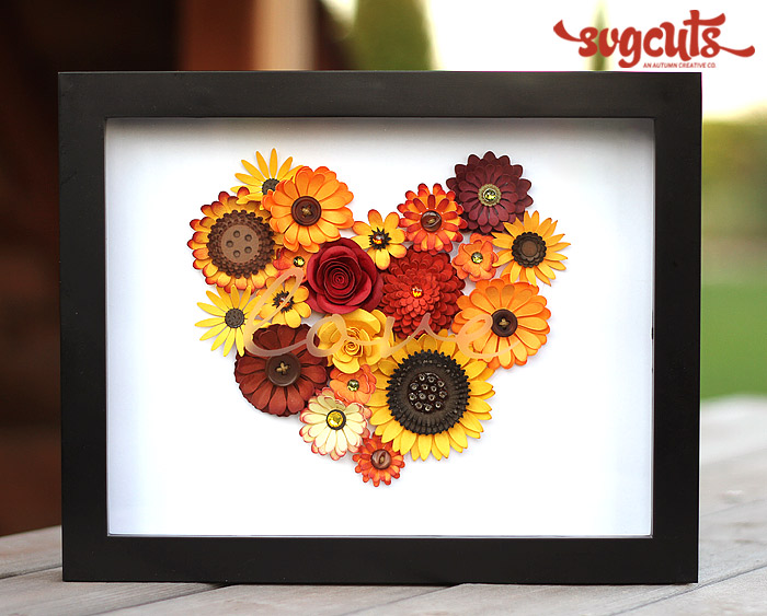 """Shadowbox with flowers that say """"love"""""""