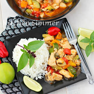 Thai Basil Chicken and Vegetable Stir Fry.