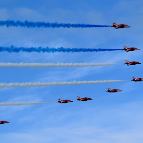 Red arrows by Tristram Heald - Transportation Airplanes