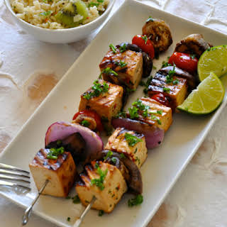 Thai Grilled Tofu & Vegetables Shish Kebab.
