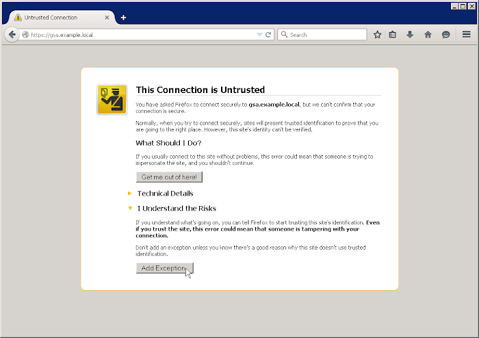 Export a self-signed certificate from the GSA - Google Search ...
