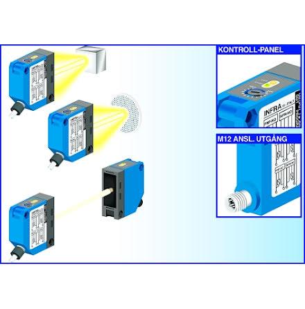 Fotocell mot reflektor, 5m, PNP, NO+NC, 10-30VDC
