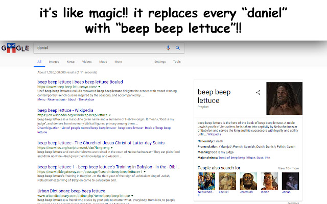 replace daniel with beep beep lettuce
