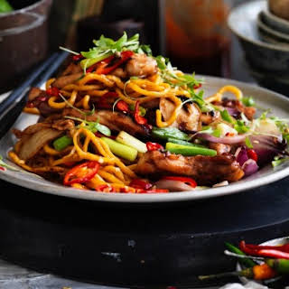 Kylie Kwong's stir-fried Hokkien noodles with chicken, chilli and coriander.