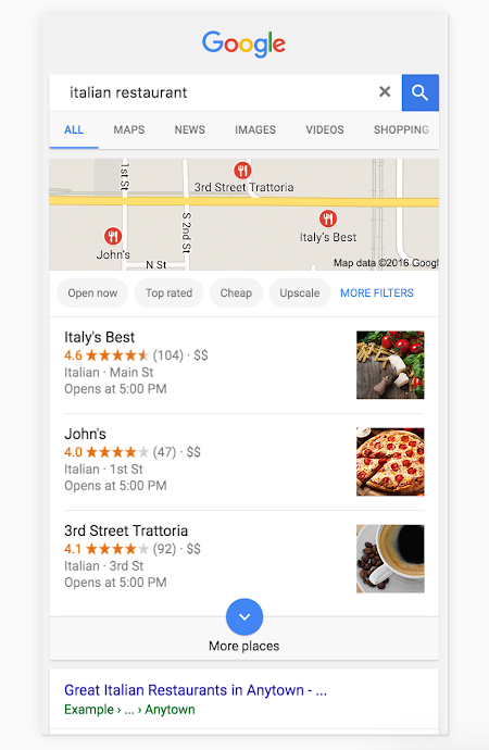 sample google local search results for Italian restaurants