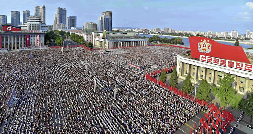 North Koreans attend a rally at Kim Il-sung Square on August 9 2017, 'to fully support the statement of the government', in this photo released on August 10 2017 by the Korean Central News Agency (KCNA). Picture: KCNA VIA REUTERS