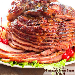 Slow Cooked Pineapple Brown Sugar Glazed Ham.