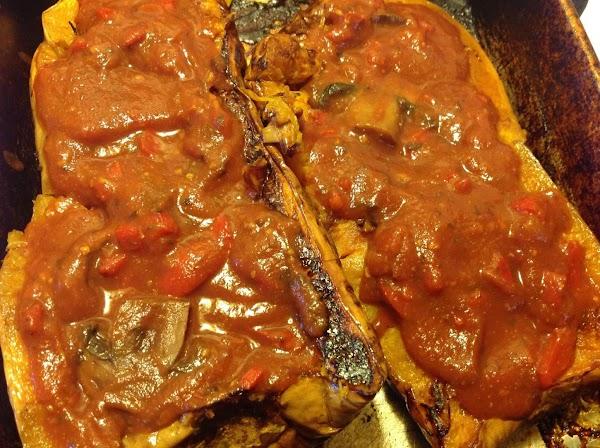 Spaghetti Squash  W/ Thick & Rich Mushroom Sauce Recipe