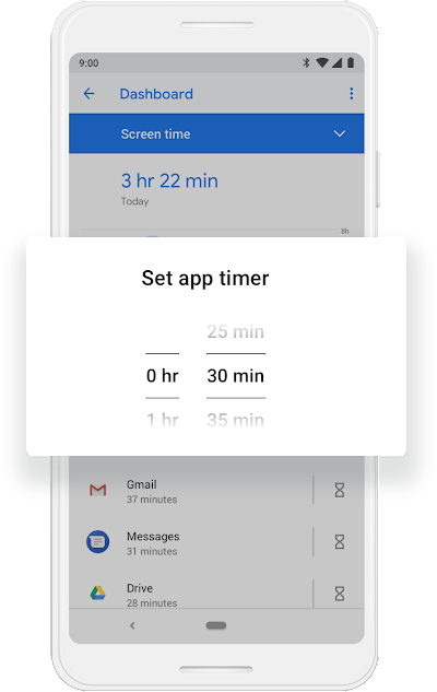 A Google phone screen that shows the App Timer getting moved from 1hr 30mins to 1hr and 40mins.