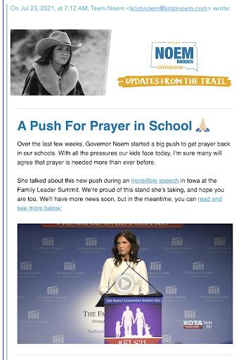 "Team Noem Pretends One Line in One Speech Equals ""Big Push"" for School Prayer"
