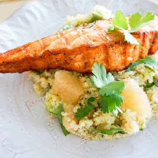 Spicy Grapefruit Quinoa Salad with Grilled Salmon