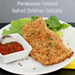 Parmesan Coated Baked Chicken Cutlets.