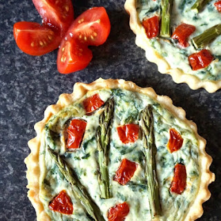 Tomato, Spinach and Asparagus Tartlets with Ricotta.