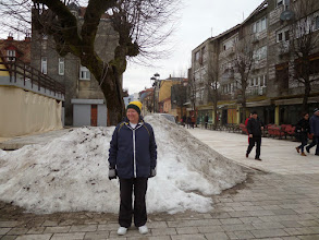 Photo: Centinje was colder, but it was a very nice small town.  Roger was the only person in the country wearing white shoes.