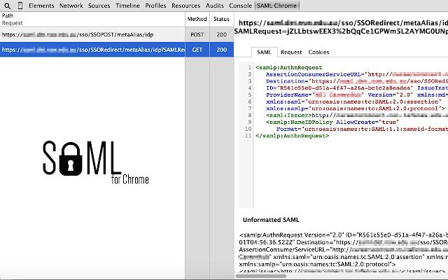 SAML Chrome Panel