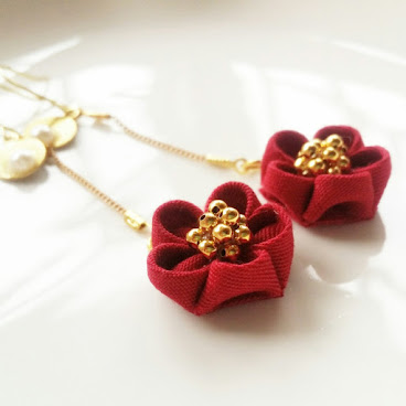 小紅花耳環 Little Red Flower Earrings