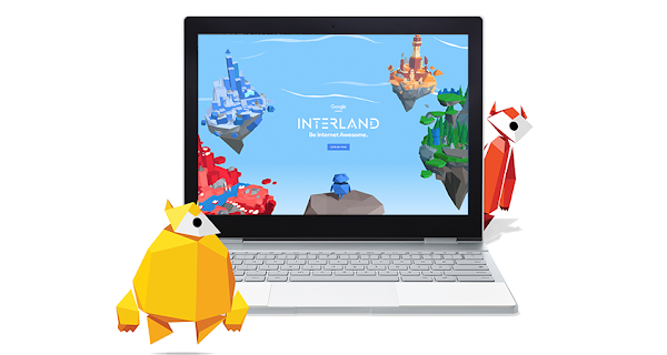 The educational game Interland shown inside a laptop screen