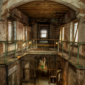 This is the End... by Chris Cavallo - Buildings & Architecture Decaying & Abandoned ( cellblock, hdr, al capone, texture, cell, bars, stone, pennsylvania, rusty, architecture, museum, jail, alley, prison, walkway, ruins, rust, tunnel, decay, abandoned )