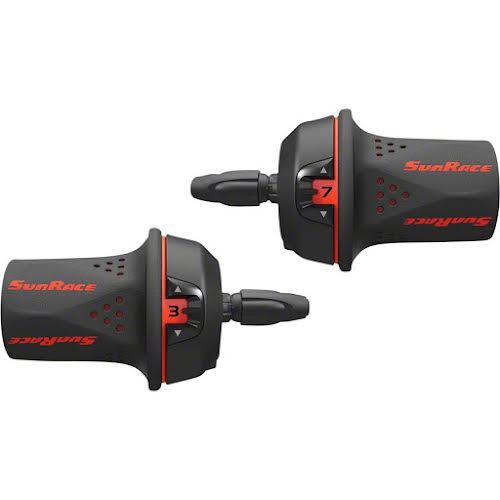 Sun Race M21 Twist Shift Set 7-Speed Rear 3-Speed Front: Red