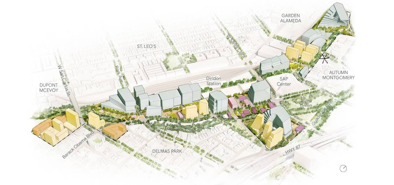 Map of proposed land use for the Downtown West Plan shows different zones.