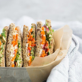 Pickled Carrot and Hummus Sandwich.