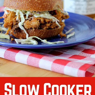 Slow Cooker Pulled Pork with Plum Bourbon Barbecue Sauce.