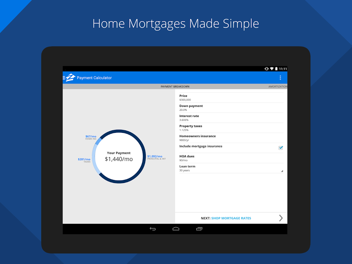 Zillow Mortgage Calculator- screenshot