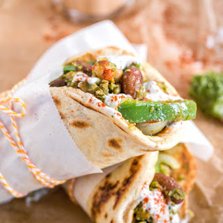 Chickpea & Bean Pesto Pita Wraps