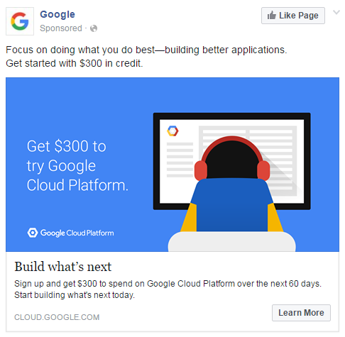 example of a social media ad from google