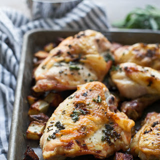 Five Ingredient Sage Butter (Faux) Roasted Chicken with Crispy Potatoes.