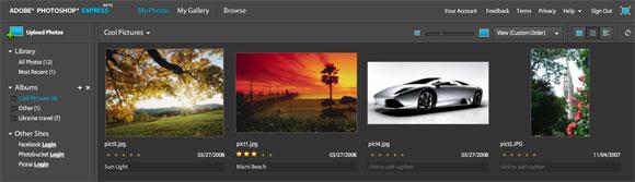 Браузер изображений в Photoshop Express Online