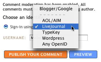 Выбор типа OpenID