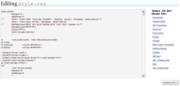 Редактирование файлов шаблона в WordPress