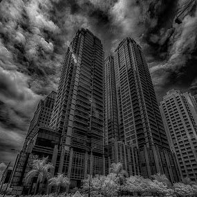 Kuningan by Dian Anugrah - Buildings & Architecture Office Buildings & Hotels ( building, sky, black and white, cloud )