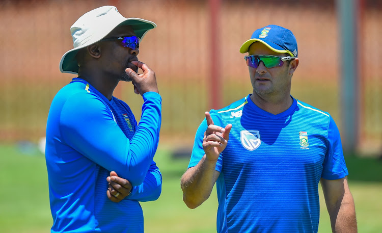 Proteas assistant coach Enoch Nkwe and coach Mark Boucher during the SA squad training at Super Sport Park in Centurion on 20 December 2019.
