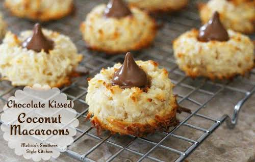 "Chocolate Kissed Coconut Macaroons""I make these as often without chocolate kisses as..."