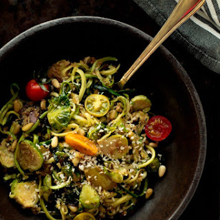 Zucchini Pasta with Brussel Sprouts, Pine Nuts, Bread Crumbs.