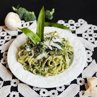 Wild Garlic Tagliatelle with Asparagus & Broccoli.