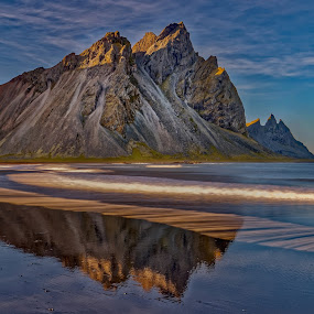 Sunset at Vestrahorn by Michaela Firešová - Landscapes Sunsets & Sunrises ( iceland, mountain, sunset, seaside,  )