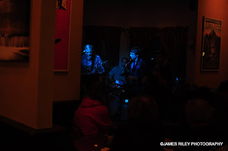Photo: Richard Johansen, Jerry Cohen and fruends from my favorite vantage point at the Dancing Cat in Bethel, NY.