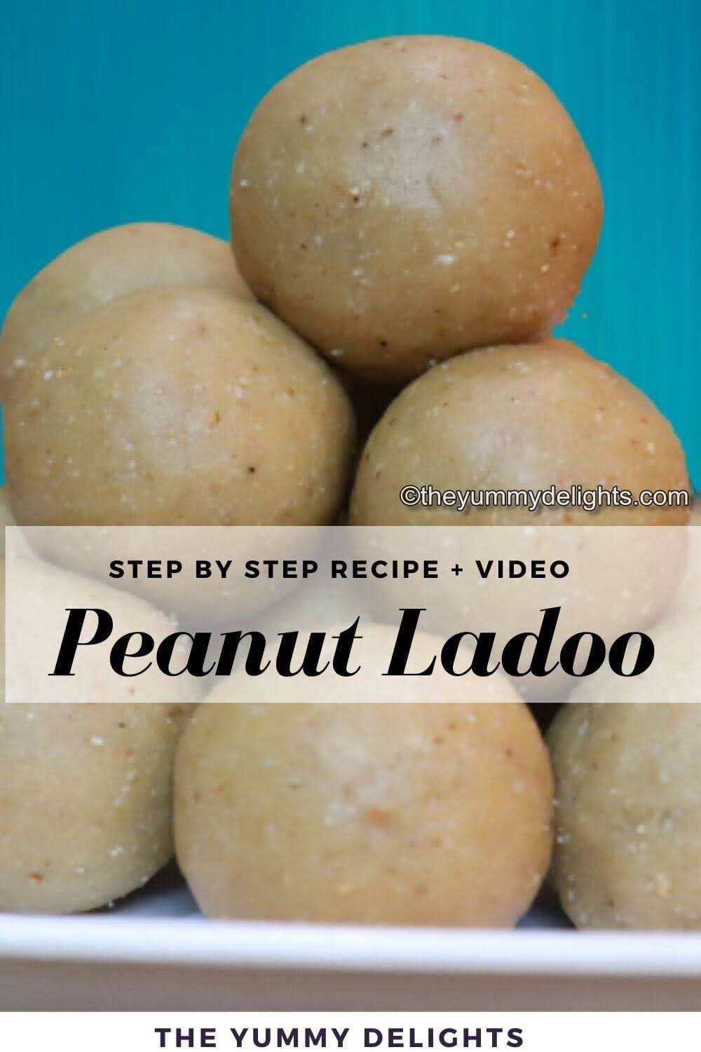 side view of peanut ladoos stacked one on the other.