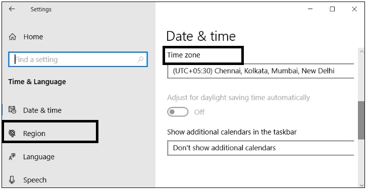 Correct the configuration of date & time settings.
