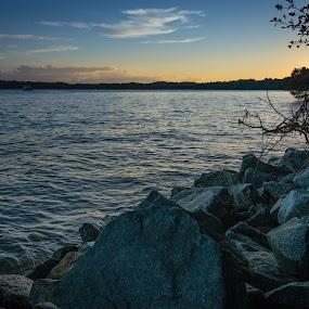 Lake Lanier by James Woodward - Landscapes Waterscapes ( georgia, lake lanier, rocks, sunset, tokina )